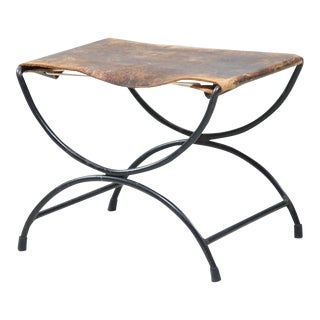 Mid-Century Metal and Leather Stool or Hocker For Sale