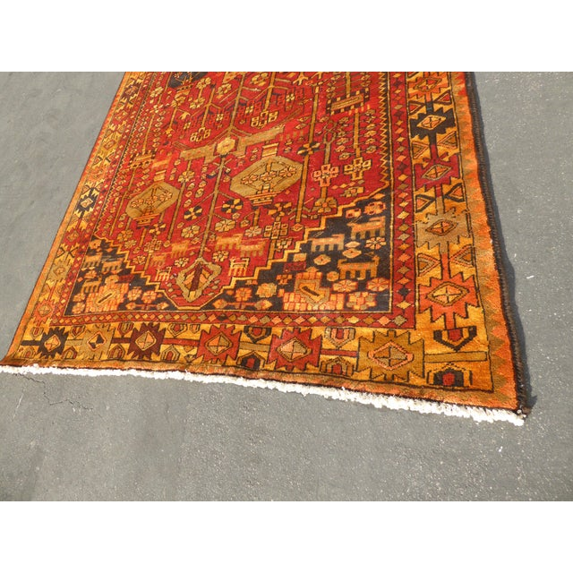 "Vintage Turkish Geometric Pattern Red & Orange Rug - 9'8"" X 6' - Image 6 of 11"