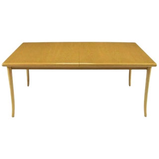 t.h. Robsjohn-Gibbings Bleached and Glazed Mahogany Saber Leg Dining Table For Sale