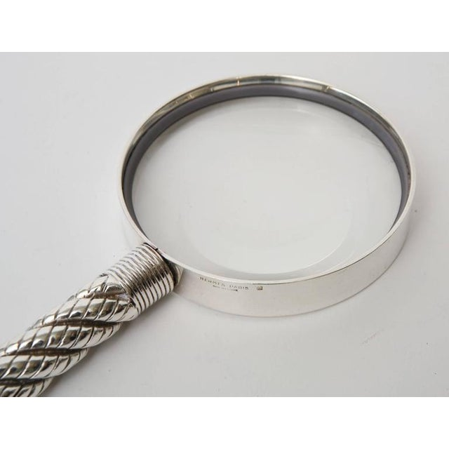 Hermes Vintage Silver-Plate Twisted& Braided Rope Magnifier/ Desk Magnifier - Image 8 of 11