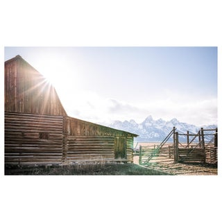 Sunset Over Grand Teton Barn Photo, Framed For Sale