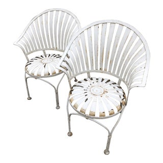 Art Deco Francois Carre Sunburst Fan Back Spring Patio Chairs - a Pair For Sale