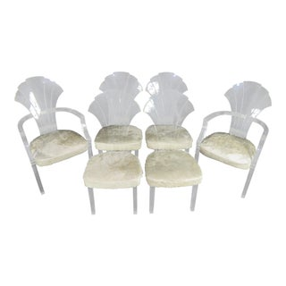Set of 6 Mid-Century Modern Lucite Dining Chairs in White Cowhide Upholstery For Sale