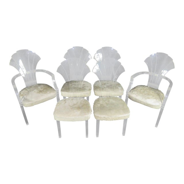 Set Of 6 Mid Century Modern Lucite Dining Chairs In White Cowhide