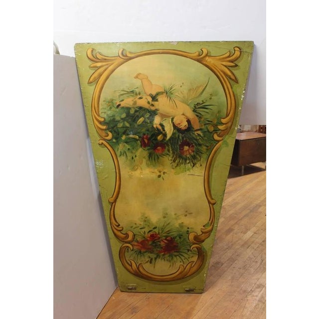 Large 1930s decorative carnival ride hand-painted wood panel. This piece would look great in a French Country style setting.