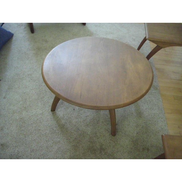 Textile Heywood Wakefield Mid-Century Coffee Table & End Tables - Set of 3 For Sale - Image 7 of 8