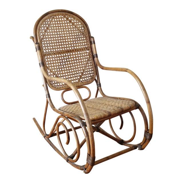 Mid Century Vintage Cane Rattan Bent Wood Rocking Chair Image 1