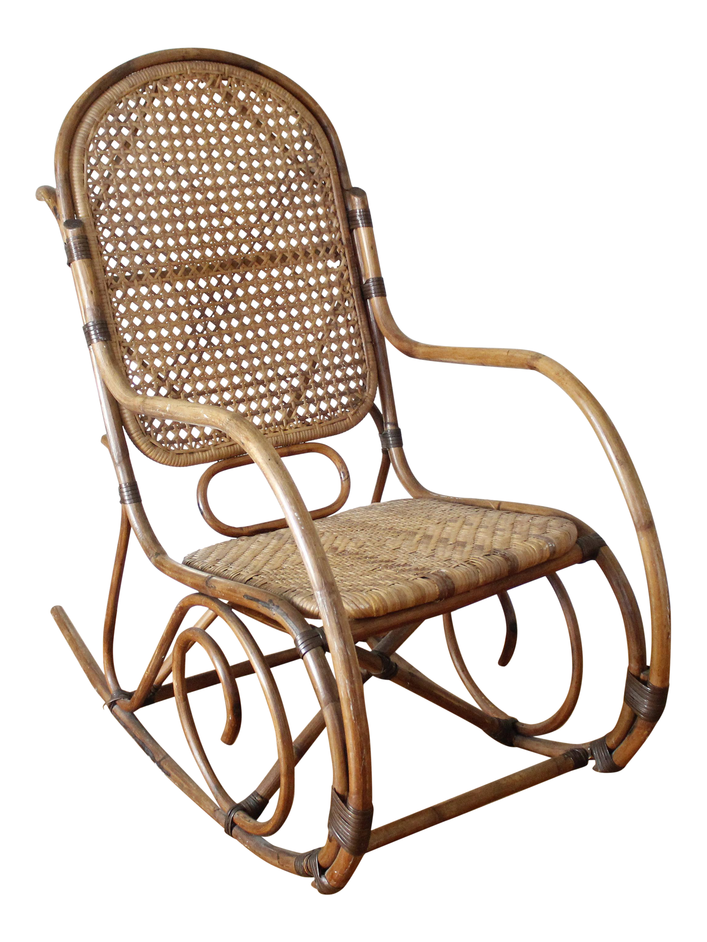 Mid Century Vintage Cane U0026 Rattan Bent Wood Rocking Chair