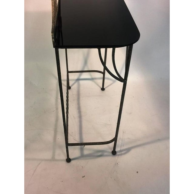 BEAUTIFUL ART DECO WROUGHT IRON VANITY AND CHAIR BY FERRO BRANDT For Sale In Philadelphia - Image 6 of 11