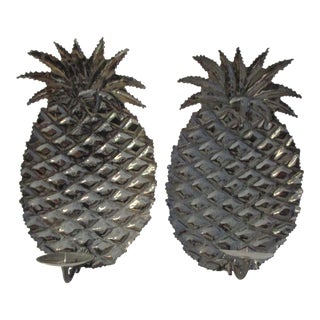 Vintage Pineapple Metal Hanging Candle Sconces - a Pair For Sale