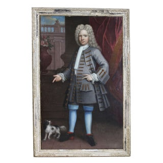 French Gentleman With His Dog Framed Oil on Canvas Painting For Sale