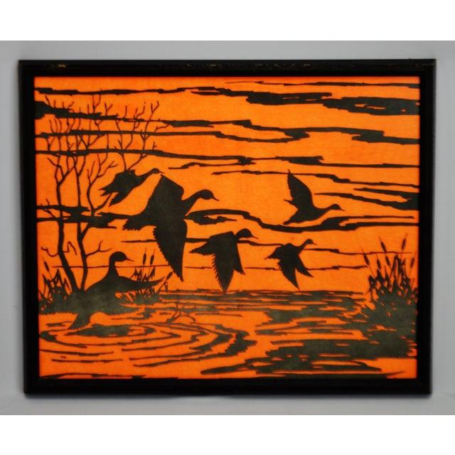 Vintage Orange Water Fowl Artwork - Image 2 of 10