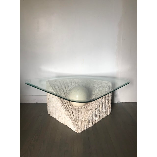 1980's Organic Modern Tesselated Mactan Stone & Glass Coffee Table For Sale - Image 11 of 11