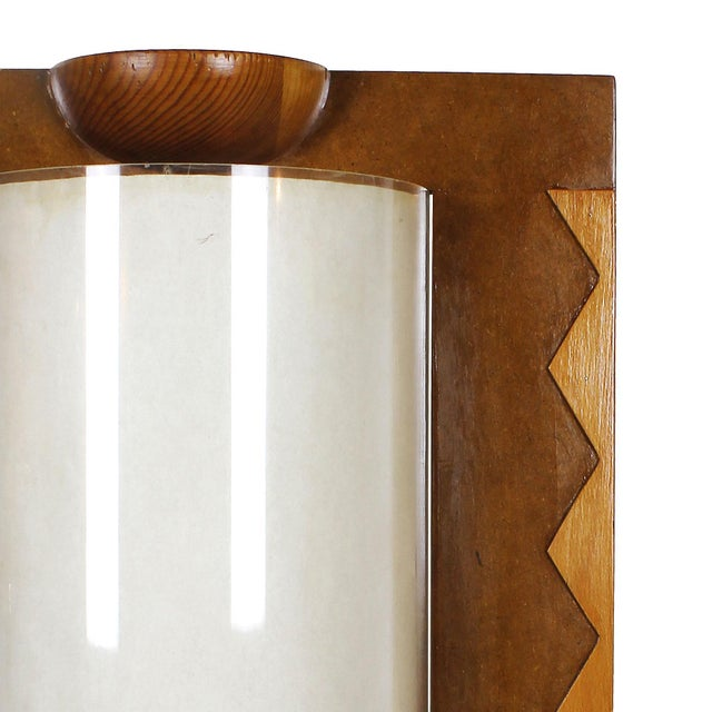 1980 Table Lamp, Mdf, Beech and Pine Woods, Plexiglass and Parchment - Spain For Sale - Image 4 of 9