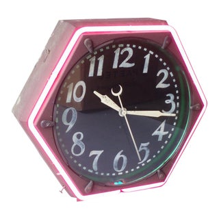 Early Gas Station Hexagon Neon Clock For Sale