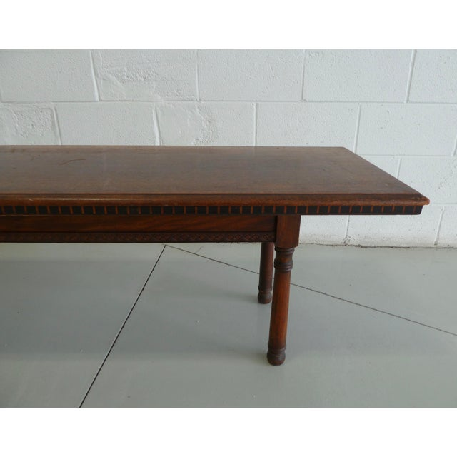 Early 20th Century Antique Wood Table With Carved Floral Motif For Sale - Image 5 of 13