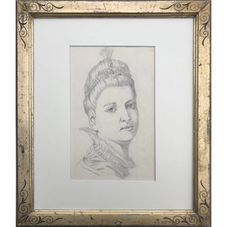 19th Century Portrait Drawing of a Woman in a Tiara For Sale