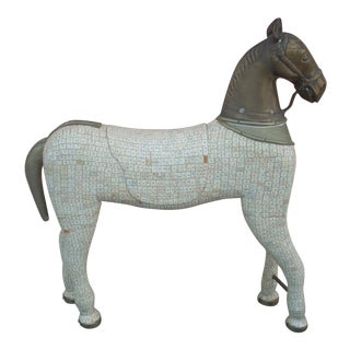 1970s Brass and Bone Horse Structure For Sale