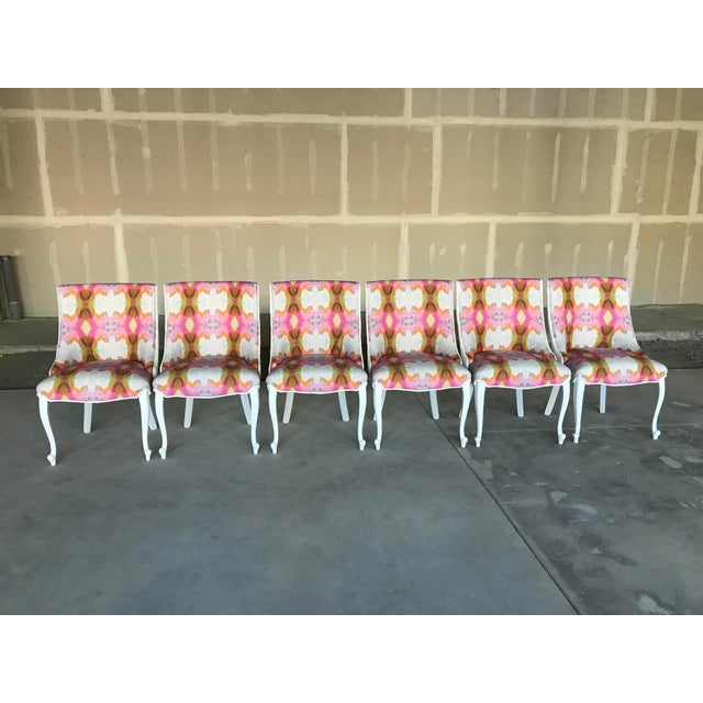 Set of six dining side chairs restored with Designers Guild Varese 100 % cotton velvet, white in color on the outside...