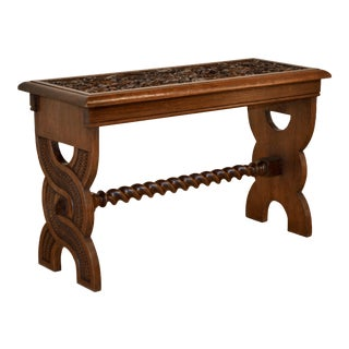 19th Century English Oak Carved Bench For Sale