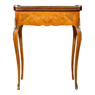 French Louis XV Style Kingwood and Marquetry Inlaid Flip-Top Game Table For Sale