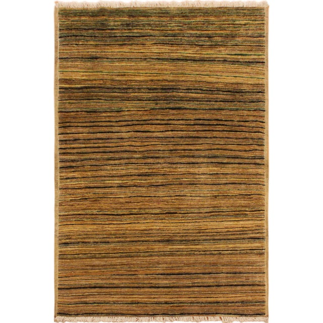 Tan Shabby Chic Gabbeh Peshawar Delfina Tan/Green Hand-Knotted Wool Rug -2'9 X 4'10 For Sale - Image 8 of 8