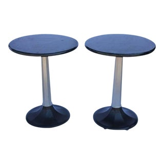 Industrial Round Bistro Tables, 1930s - A Pair For Sale