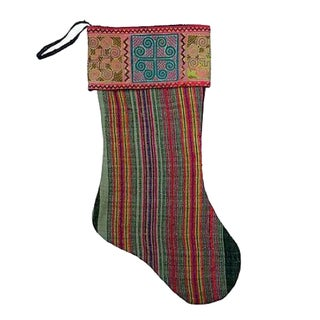 Vintage Hmong Textile Christmas Stocking For Sale