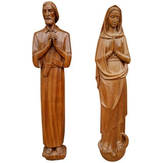 Italian Carved Wood Religious Wall Plaques in High Relief Circa 1930s - A Pair For Sale