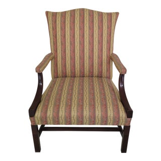 1990s Vintage Southwood Mahogany Upholstered Library Chair For Sale