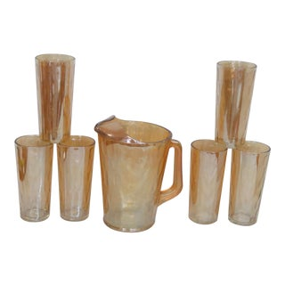 Marigold Iridescent Hex Optic Jeannette Glass Pitcher and 6 Tall Cups For Sale
