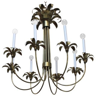 1950s Eight-Arm Italian Brass Flower Chandelier For Sale