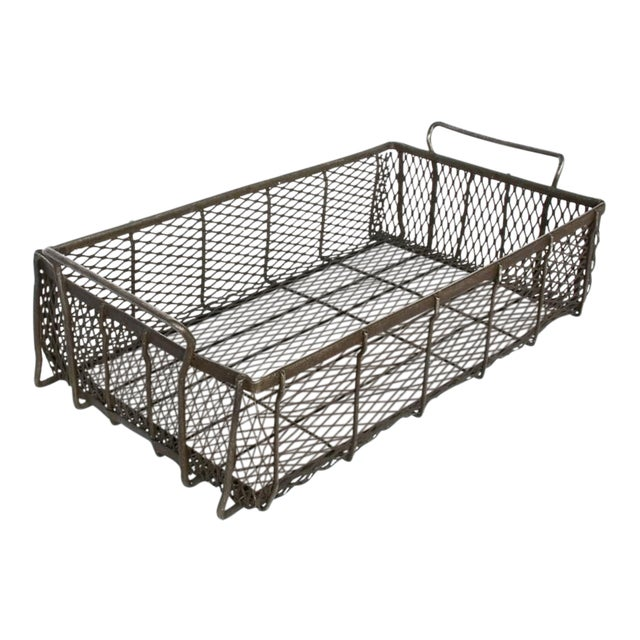 Industrial Metal Mesh Container With Handles For Sale - Image 4 of 4