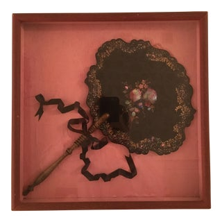 Framed Black Lacquered Hand Fan With Mother of Pearl Inlay