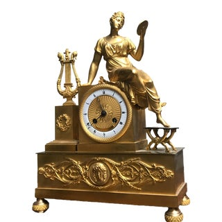 French Neoclassical Mercury Gilded Bronze Mythological Scene Clio Figural Mantel Clock For Sale