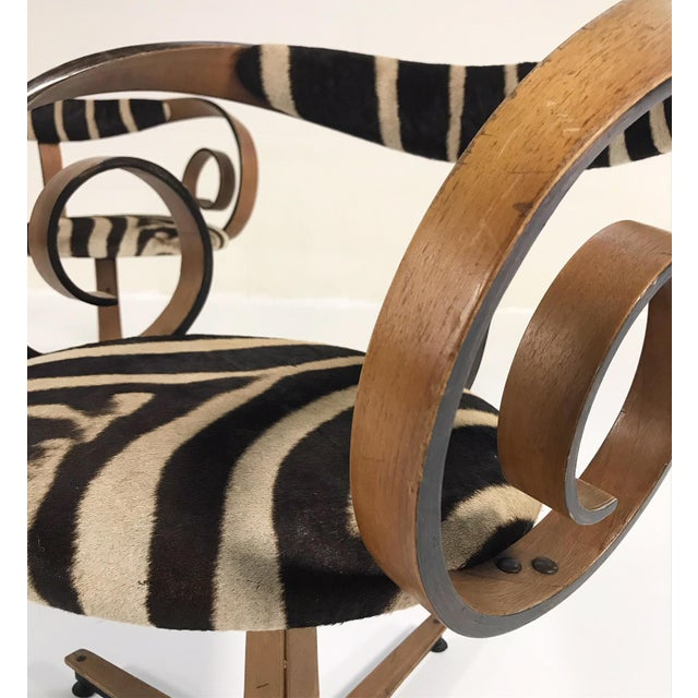 George Mulhauser for Plycraft Sultana Chairs Restored in Zebra Hide - Pair For Sale - Image 10 of 11