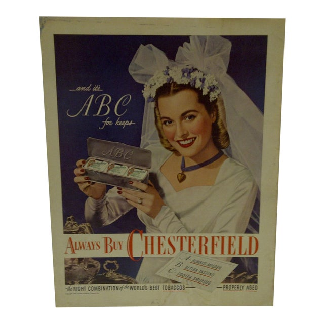 Vintage Chesterfield Cigarettes Advertising Magazine Page - Image 1 of 3