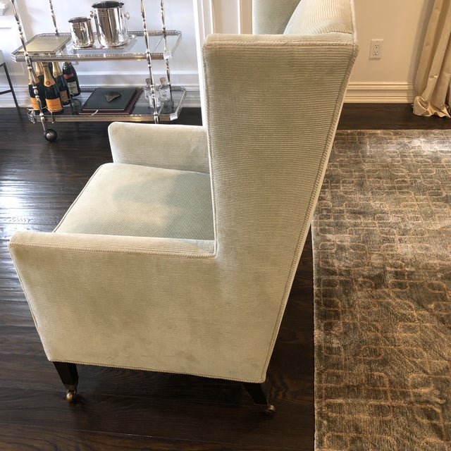 Contemporary Windsor Smith Corduroy Celadon and Beige Wingback Chairs - a Pair For Sale - Image 3 of 7