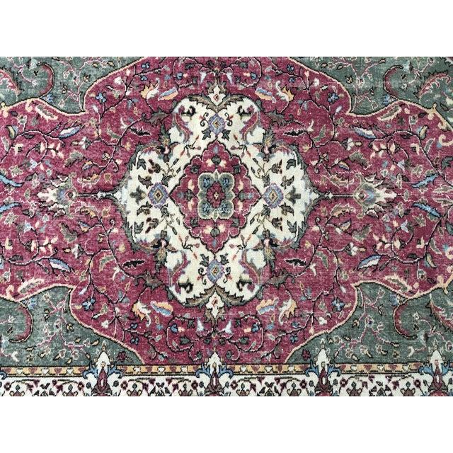 1970s Vintage Turkish Floral Area Rug - 6′2″ × 9′7″ For Sale - Image 9 of 11