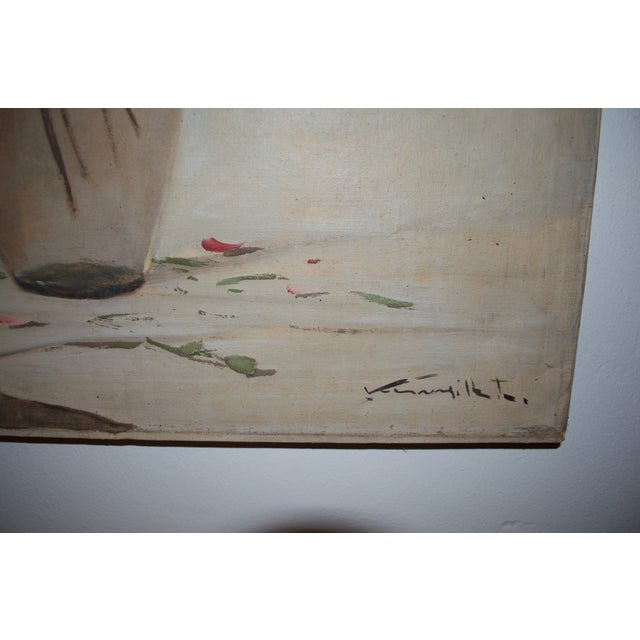 Vintage Large Carnations Floral Oil Painting - Image 5 of 8