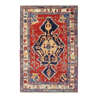 Vintage Turkish Tribal Rug With Jewel-Toned Central Medallion and Vivid Border For Sale
