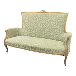 19th Century Louis XV Gold Gilt Ribbon Carved Settee For Sale