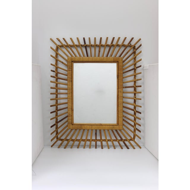 Boho Chic Mid-Century French Bamboo Wall Mirror For Sale - Image 3 of 3