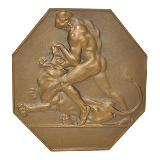Austrian Art Deco Bronze Plaque Man & Lion For Sale