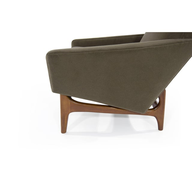 Green Scandinavian Modern Olive Velvet on Sculptural Teak Base Lounge Chairs - a Pair For Sale - Image 8 of 11