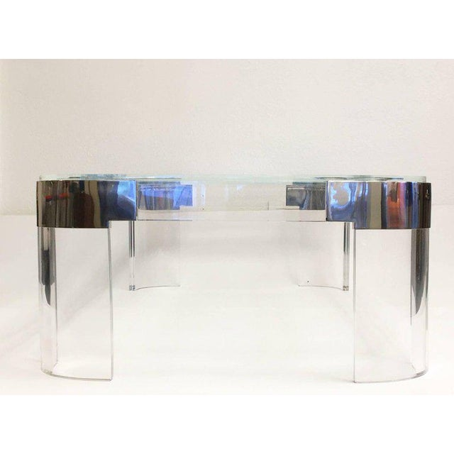 Charles Hollis Jones Acrylic and Chrome Cocktail Table by Charles Hollis Jones For Sale - Image 4 of 7