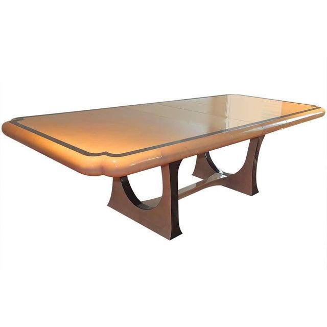 1970s Modern Enrique Garcel Lacquered Goatskin Dining Table For Sale - Image 9 of 9