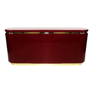 Cranberry Lacquered and Brass Sideboard / Credenza by Mastercraft For Sale