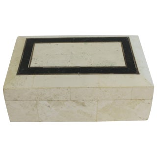 Black and White Travertine Marble Box