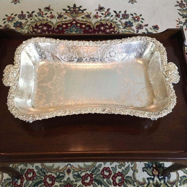 Barker Ellis Hand Applied Silver Tray For Sale - Image 13 of 13